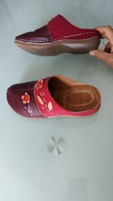 Flowers Leaves Retro Style Women Wedges Slippers photo review